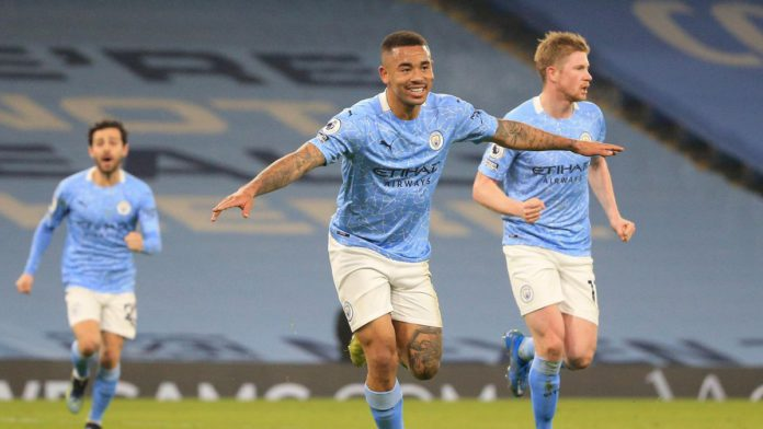 Gabriel Jesus of Manchester City celebrates after scoring their side's second goal during the Premier League match between Manchester City and Wolverhampton Wanderers at Etihad Stadium on March 02, 2021 in Manchester, England. Image credit: Getty Images