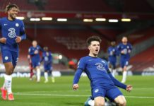 Mason Mount of Chelsea celebrates after scoring his team's first goal during the Premier League match between Liverpool and Chelsea at Anfield on March 04, 2021 in Liverpool, England Image credit: Getty Images
