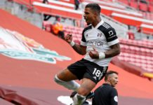 Fulham's Gabonese midfielder Mario Lemina (C) celebrates after scoring the opening goal of the English Premier League football match between Liverpool and Fulham at Anfield Image credit: Getty Images