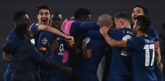 FC Porto's players celebrate after scoring their second goal during the UEFA Champions League round of 16 second leg football match between Juventus Turin and FC Porto Image credit: Getty Images