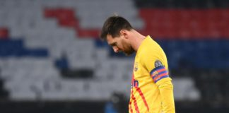 Barcelona's Argentinian forward Lionel Messi reacts during the UEFA Champions League round of 16 second leg football match between Paris Saint-Germain (PSG) and FC Barcelona at the Parc des Princes stadium in Paris, on March 10, 2021 Image credit: Getty Images