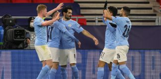 Ilkay Gundogan of Manchester City celebrates with team mates Phil Foden, Kevin De Bruyne, Joao Cancelo and Riyad Mahrez after scoring their side's second goal during the UEFA Champions League Round of 16 match between Manchester City and Borussia Moenchen Image credit: Getty Images