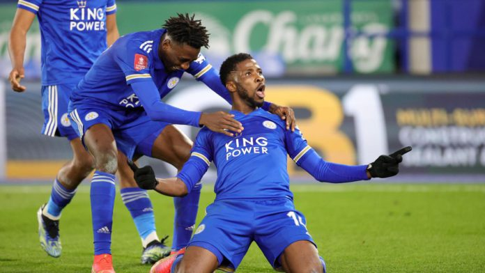 Kelechi Iheanacho of Leicester City celebrates after scoring to make it 3-1 during the Emirates FA Cup Quarter Final match between Leicester City and Manchester United at The King Power Stadium Image credit: Getty Images