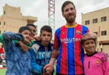 The children were so excited to meet Messi's doppelganger