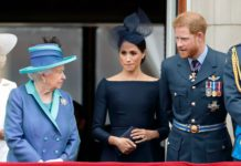 L-R: Queen Elizabeth, Meghan Markle, and Prince Harry. Photo: Getty Images