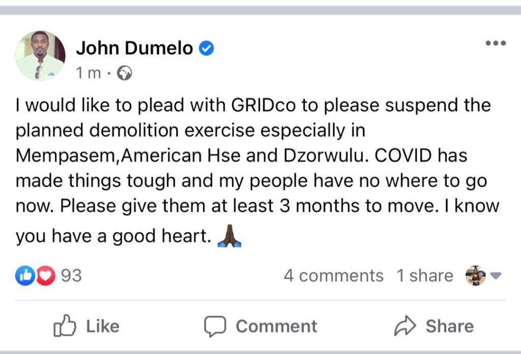 Dumelo begs GRIDCo for grace period over planned demolition 7