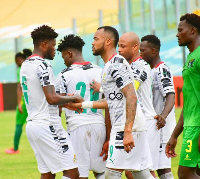 Black Stars players celebrate against Sao Tome