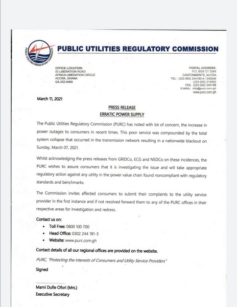 PURC to investigate recent erratic power supply 7