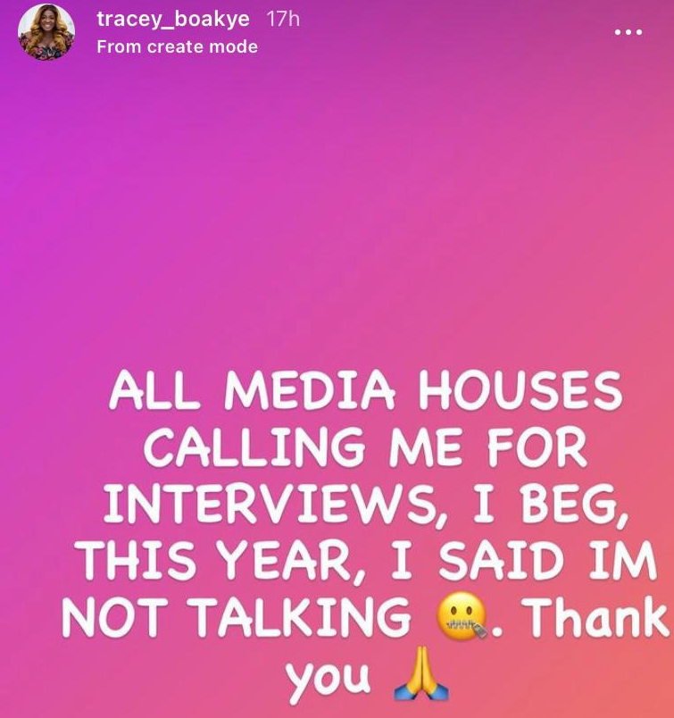 I'm doing no interviews in 2021 - Tracey Boakye  | Adomonline.com
