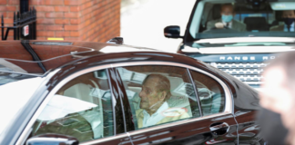 Britain's Prince Philip leaves King Edward VII's Hospital in London, Britain March 16, 2021. REUTERS/Peter Cziborra