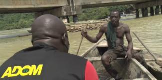 Adom TV's Kobby Stonne interviews a River Ankobra fisherman