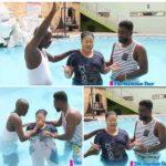 Agradaa baptising in swimming pool