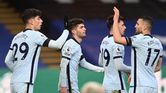 Christian Pulisic of Chelsea celebrates after scoring their team's fourth goal during the Premier League match between Crystal Palace and Chelsea at Selhurst Park on April 10, 2021 in London, England. Image credit: Getty Images