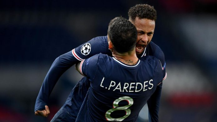 Neymar of Paris Saint-Germain and teammate Leandro Paredes celebrate their team's victory at full-time after the UEFA Champions League Quarter Final Second Leg match between Paris Saint-Germain and FC Bayern Munich at Parc des Princes on April 13, 2021 Image credit: Getty Images