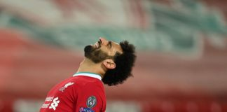 Mohamed Salah of Liverpool reacts during the UEFA Champions League Quarter Final Second Leg match between Liverpool FC and Real Madrid at Anfield on April 14, 2021 in Liverpool, England. Image credit: Getty Images