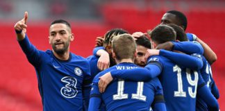 Hakim Ziyech of Chelsea celebrates with teammates after scoring their team's first goal during the Semi Final of the Emirates FA Cup match between Manchester City and Chelsea FC at Wembley Stadium on April 17, 2021 in London, England Image credit: Getty Images