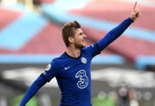 Timo Werner of Chelsea celebrates after scoring their sides first goal during the Premier League match between West Ham United and Chelsea at London Stadium on April 24, 2021 in London, Image credit: Getty Images