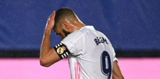 Real Madrid's French forward Karim Benzema gestures during the Spanish League football match between Real Madrid CF and Real Betis at the Alfredo di Stefano stadium in Valdebebas, on the outskirts of Madrid, on April 24, 2021. Image credit: Getty Images