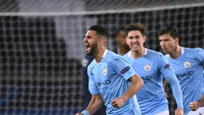 Manchester City's Algerian midfielder Riyad Mahrez celebrates after scoring a goal during the UEFA Champions League first leg semi-final football match between Paris Saint-Germain (PSG) and Manchester City at the Parc des Princes stadium in Paris Image credit: Getty Images