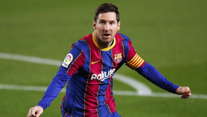 Lionel Messi of FC Barcelona celebrates scoring his side's first goal during the La Liga Santander match between FC Barcelona and Getafe CF Image credit: Getty Images