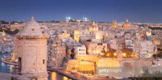 Night view of Valletta, Malta.