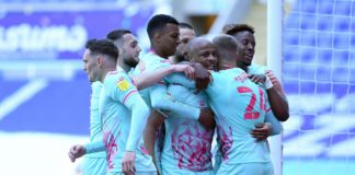 Ayew celebrate with Swansea City
