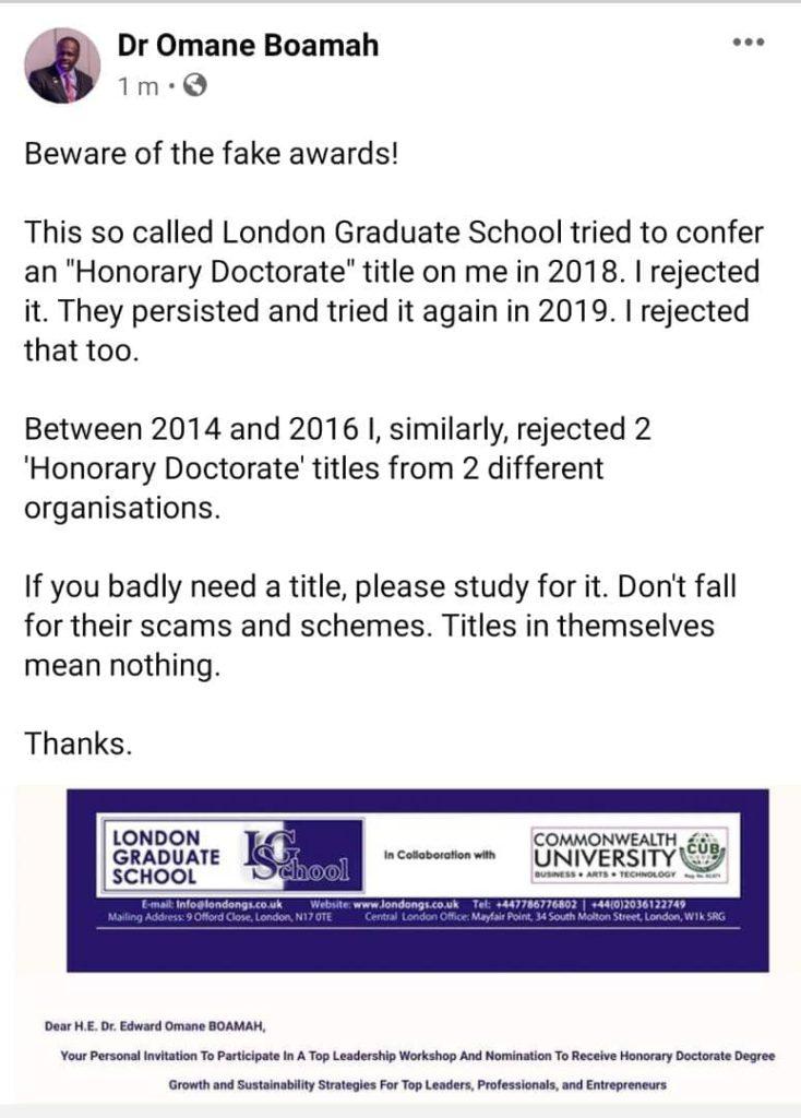 Omane Boamah exposes two universities offering fake degrees. 4