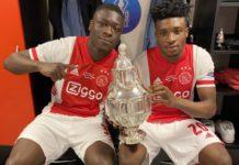 Kudus Mohammed with Ajax teammate Bryan Brobbey