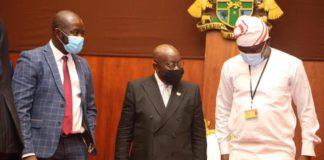 GFA boss, Kurt Okraku, President Akufo Addo and Sports Minister Mustapha Ussif