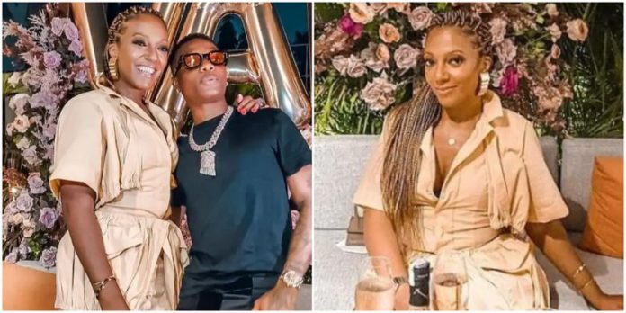 Nigerian star Wizkid with Valerie Obaze on her 41st birthday