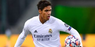 Raphael Varane will miss Tuesday's game at Alfredo Di Stefano