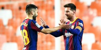 Lionel Messi (R) celebrates Image credit: Getty Images