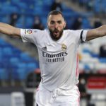 Karim Benzema of Real Madrid celebrates after scoring a goal as referee disallow the goal during La Liga match between Real Madrid and Sevilla at Alfredo Di Stefano Stadium Image credit: Getty Images