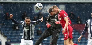 Goalkeeper Alisson Becker of Liverpool scores a goal to make it 1-2 during the Premier League match between West Bromwich Albion and Liverpool at The Hawthorns on May 16, 2021 in West Bromwich, United Kingdom. Image credit: Getty Images
