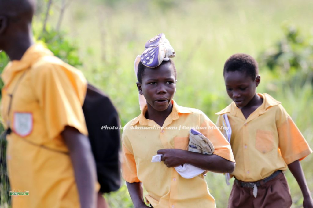Pupils travel 3 hours barefoot on muddy road to school in Accra