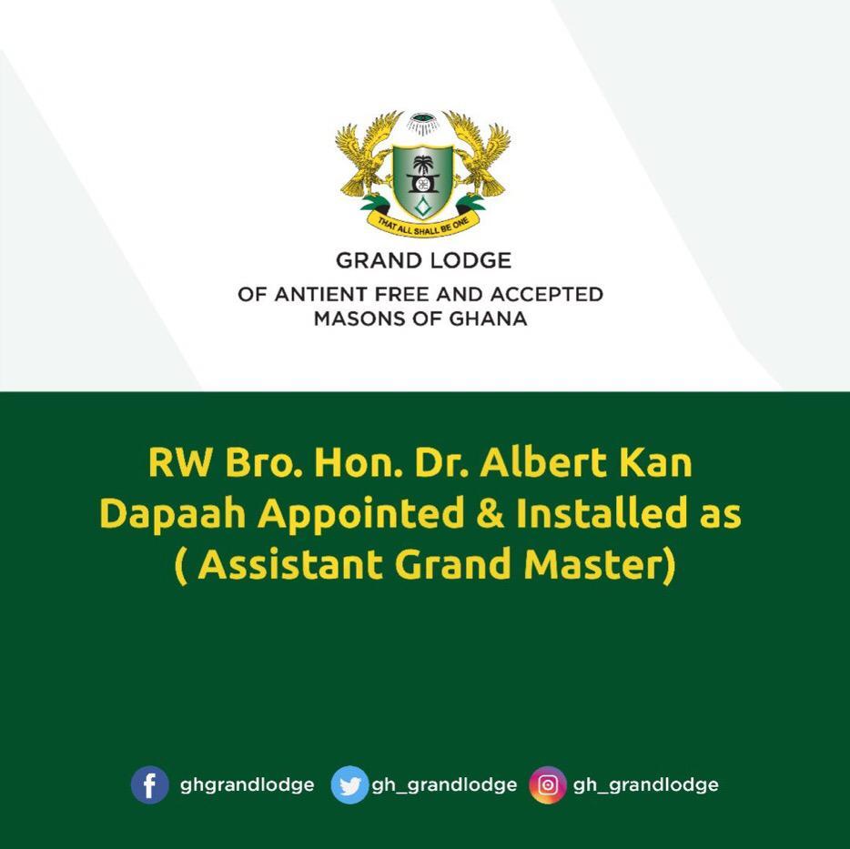 Kan Dapaah installed Assistant Grand Master of Freemasons in Ghana