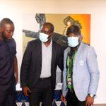 Kwadwo Mensah Moshoshoo, host of the Ultimate Sports Show with GFA boss, Kurt Okraku and head of Sports for Asempa FM, Wallace