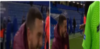 Eden Hazard laughing with ex-Chelsea players