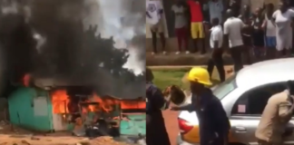 Fire service personnel arrive in taxi to douse flames at Akyem Begoro