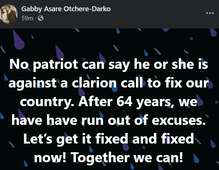 Gabby Othere-Darko reacts to Ghanaians calling on leaders to fix the country