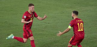 SEVILLE, SPAIN - JUNE 27: Thorgan Hazard of Belgium celebrates after scoring his team's first goal with his teammate Eden Hazard during the UEFA Euro 2020 Championship Round of 16 match between Belgium and Portugal at Estadio La Cartuja on June 27, 2021 i Image credit: Getty Images