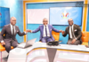 Nathaniel Attoh, Laryea Kingsto and Stephen Appiah in the studios of Joy Prime for the coverage of the Euro 2020