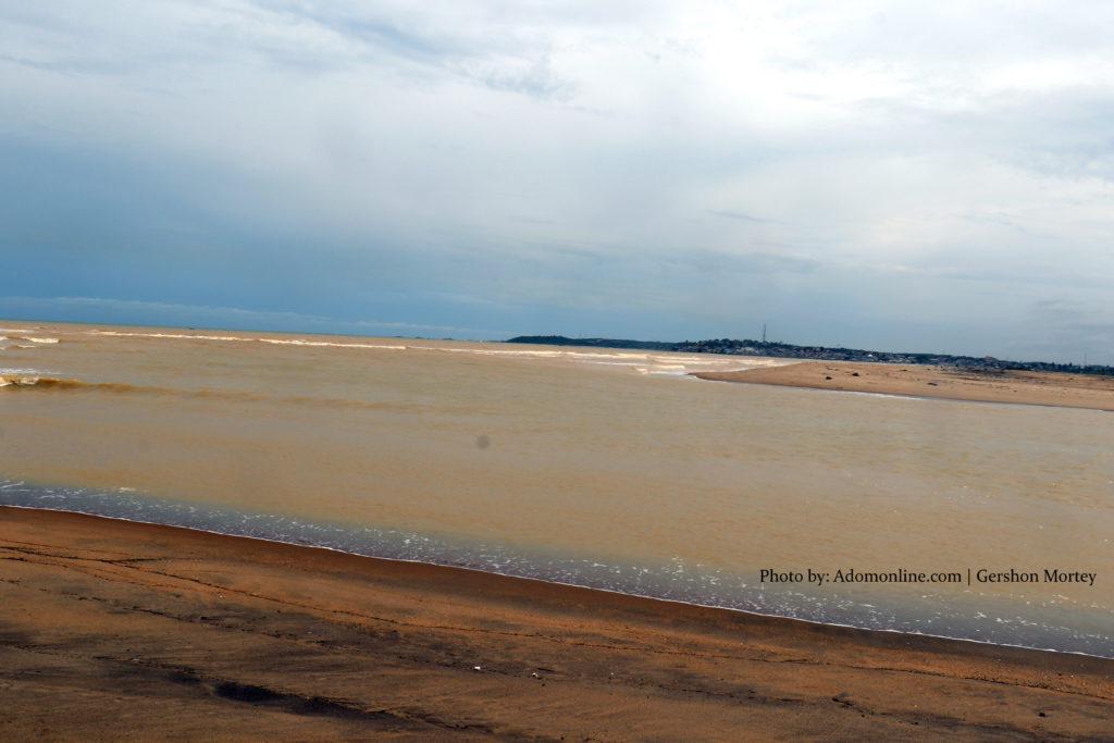 Galamsey: Where River Pra meets the sea at Shama; sea colour now brown (Exclusive Photos). 48