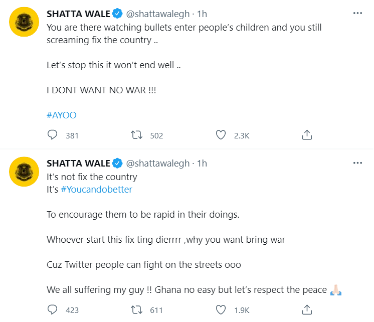 Do you want to bring war? – Shatta Wale stands against #FixTheCountry campaign