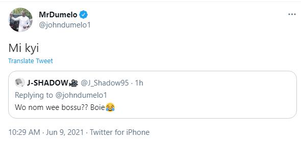 John Dumelo's response to fan who asked if he smokes marijuana