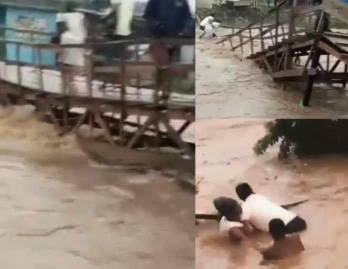 Kumasi floods: Woman allegedly drowns after wooden bridge collapses