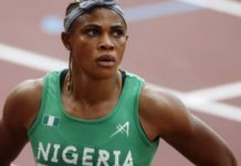 Okagbare ran in the Olympic 100m heats before being suspended