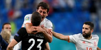 SAINT PETERSBURG, RUSSIA - JULY 02: Mikel Oyarzabal of Spain celebrates their side's victory in the penalty shoot out with team mate Unai Simon after the UEFA Euro 2020 Championship Quarter-final match between Switzerland and Spain at Saint Petersburg Sta Image credit: Getty Images