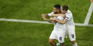 MUNICH, GERMANY - JULY 02: (BILD ZEITUNG OUT) Lorenzo Insigne of Italy celebrates after scoring his team's second goal with Nicolo Barella of Italy during the UEFA Euro 2020 Championship Quarter-final match between Belgium and Italy at Football Arena Muni Image credit: Getty Images