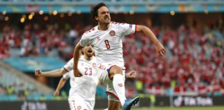 Thomas Delaney of Denmark celebrates after scoring their side's first goal during the UEFA Euro 2020 Championship Quarter-final match between Czech Republic and Denmark at Baku Olimpiya Stadionu on July 03, 2021 in Baku, Azerbaijan. Image credit: Getty Images